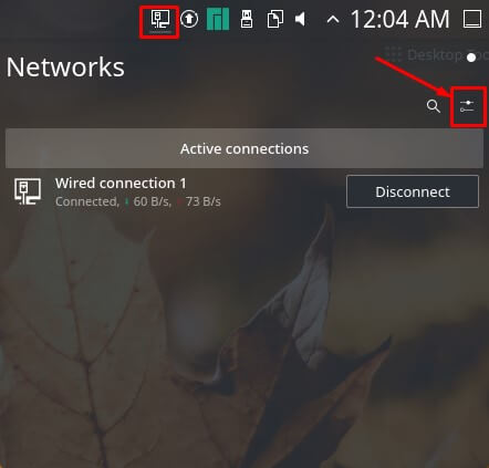 Click the Networks Icon and select Configure Network selection