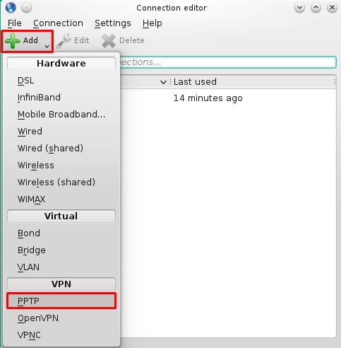 Add a VPN connection then select PPTP