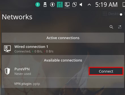 click Connect button to connect to VPN