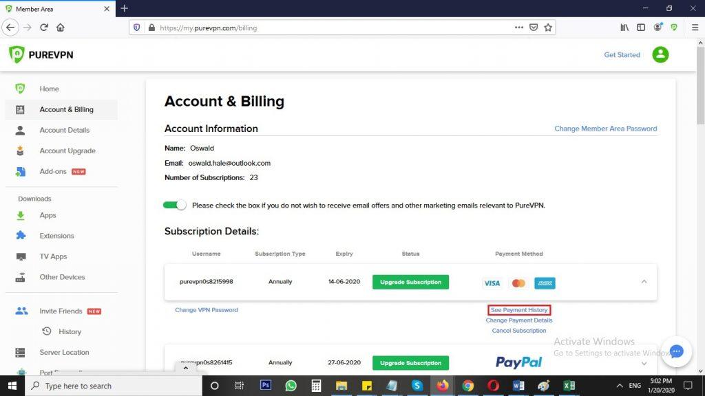 Payment History on PureVPN Windows-Mac