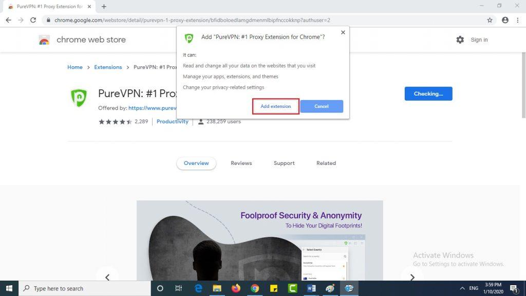 Click Add extension Iridium browser