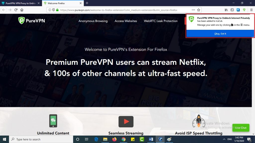Use PureVPN's Firefox extension on your IceCat browser