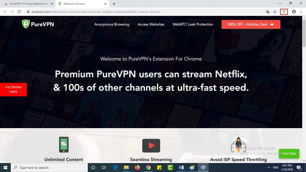 extension added to Iridium browser