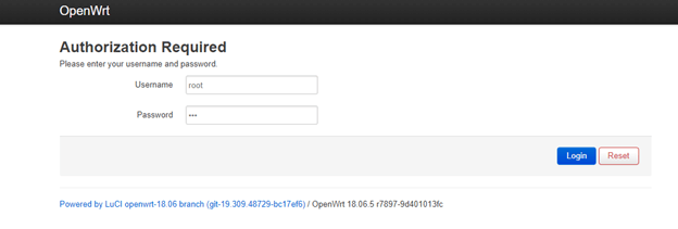 Login to the router's Luci Web panel
