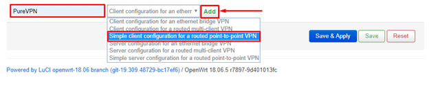 Simple client configuration for a routed point-to-point VPN