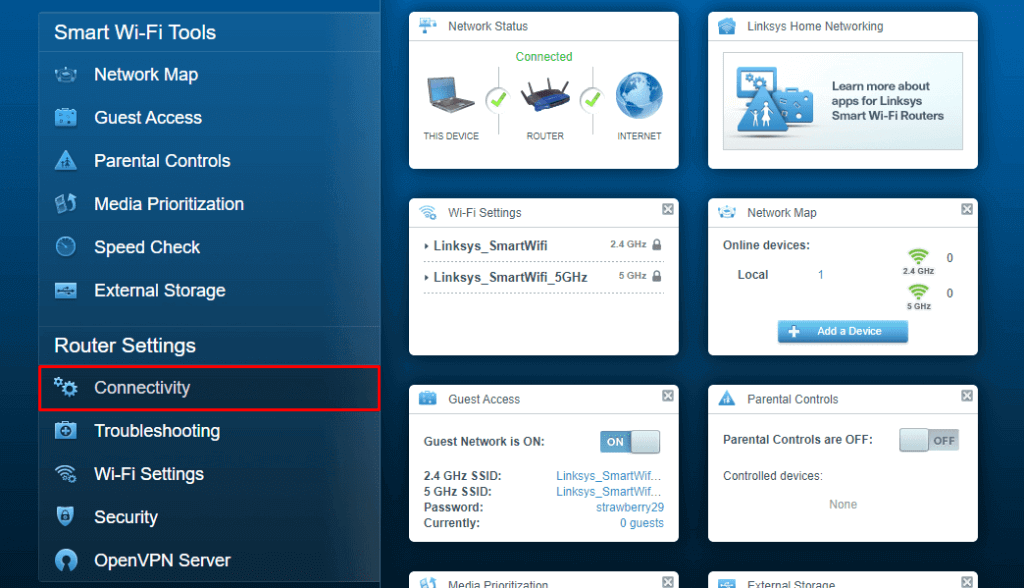 Router Settings to set PPTP VPN Client