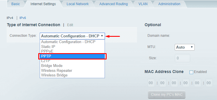 Choose PPTP from Connection Type