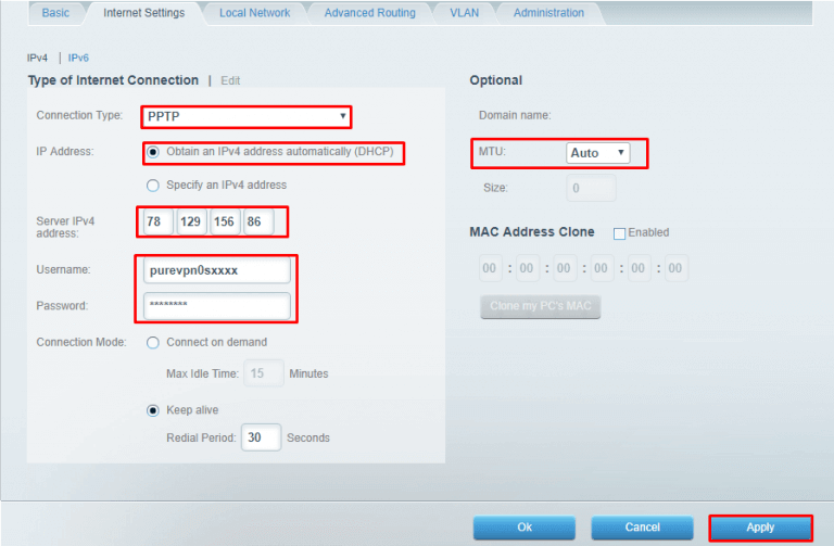 enter the following information to connect PPTP VPN client