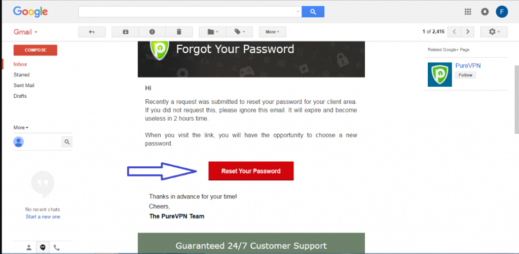 'Reset Your Password' email