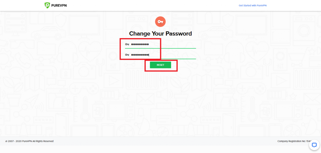 Type your new password and select 'RESET'