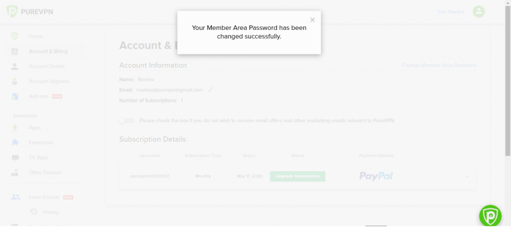 successfully changed member's area password