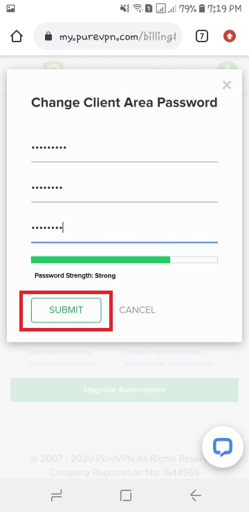 Change client area password Android