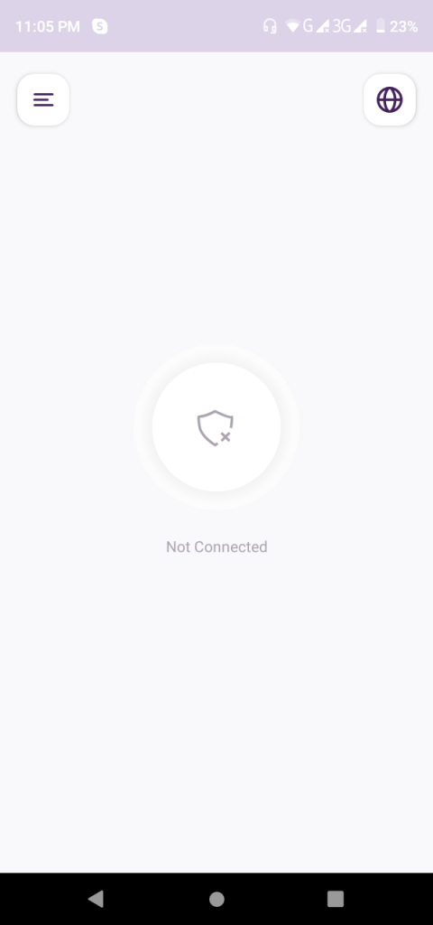 Once logged in, tap the connect icon at the center to connect with the recommended country/server.