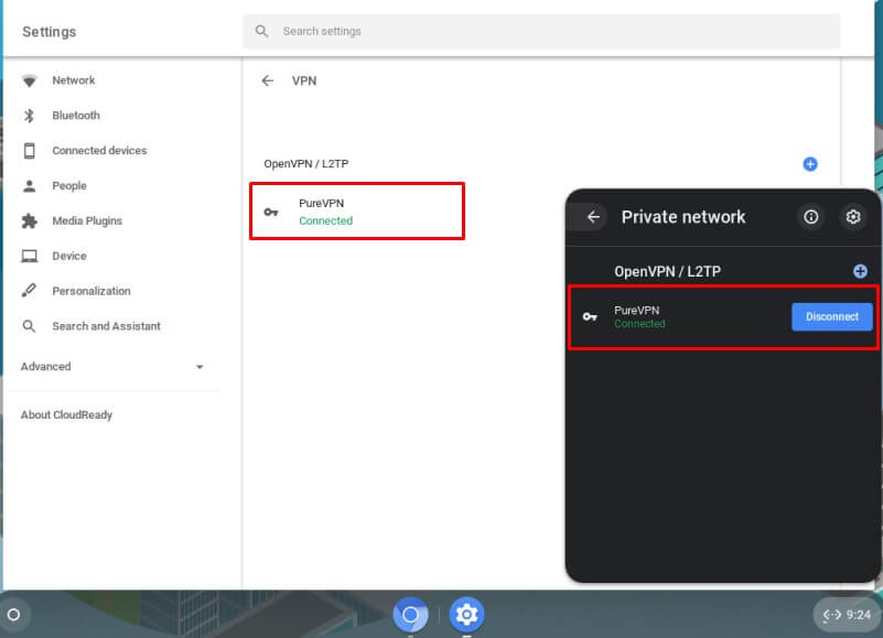 Your Chrome OS is now connected to VPN