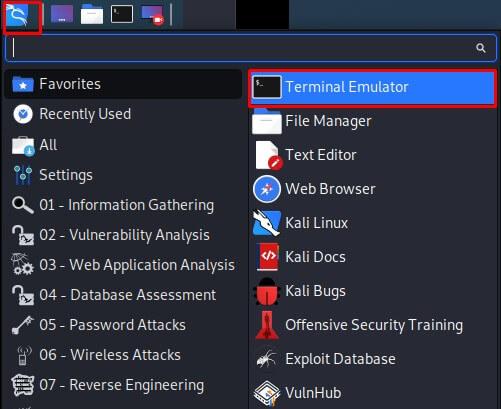 Terminal Emulator on Kali Linux