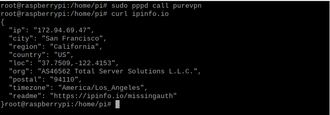Now connected to VPN Using PPTP