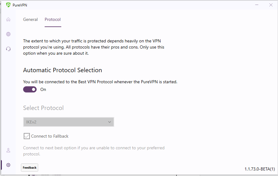 Select the Protocol tab | How to change protocol in PureVPN Windows app