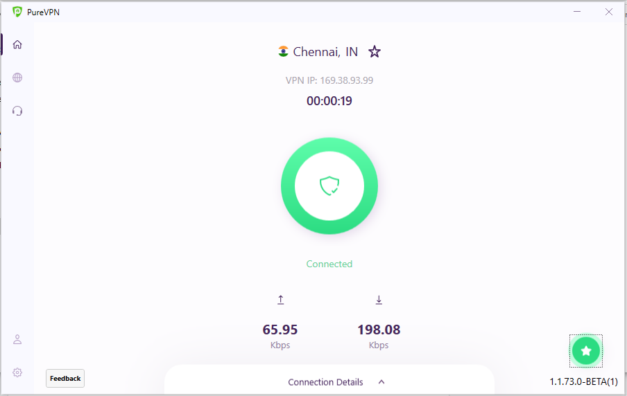 View Upload and Download Speed | How to check the upload/download speed after connecting PureVPN Windows app