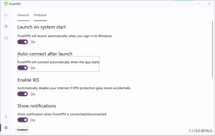 Toggle Launch on System start and Auto-connect - How to auto-connect after launch on PureVPN Windows app