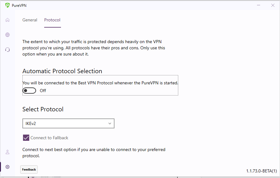 Turn off Automatic protocol selection | How to change protocol in PureVPN Windows app