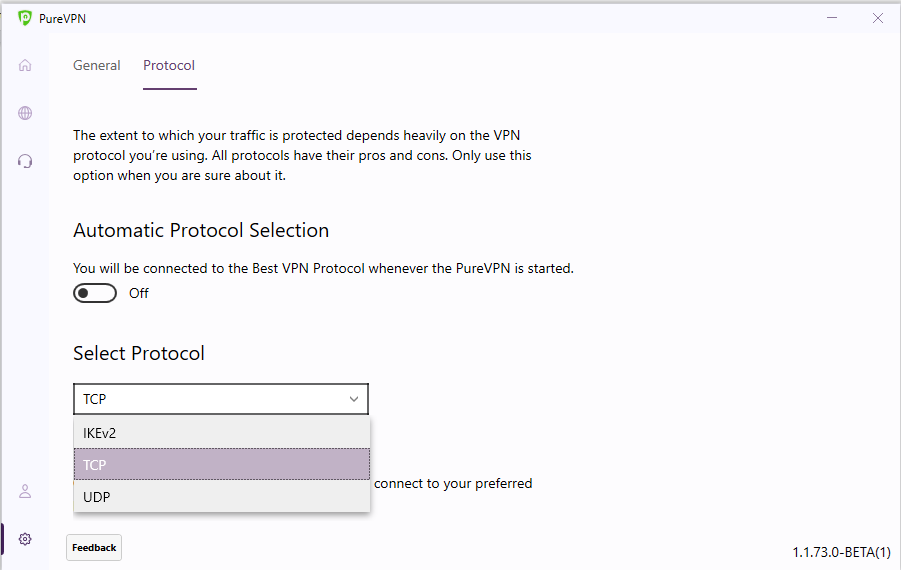 Choose your desired protocol | How to change protocol in PureVPN Windows app