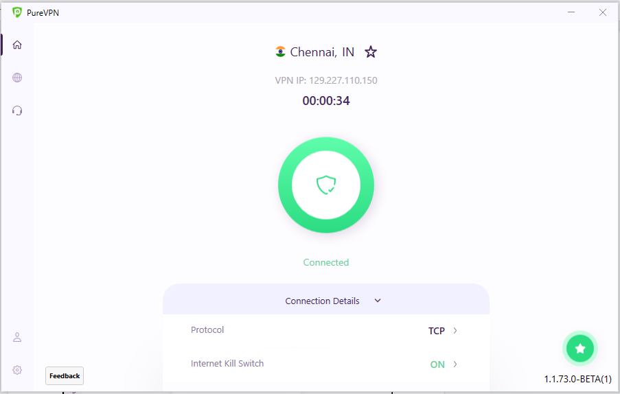 You are now Connected | How to connect via recommended server / location on PureVPN Windows App