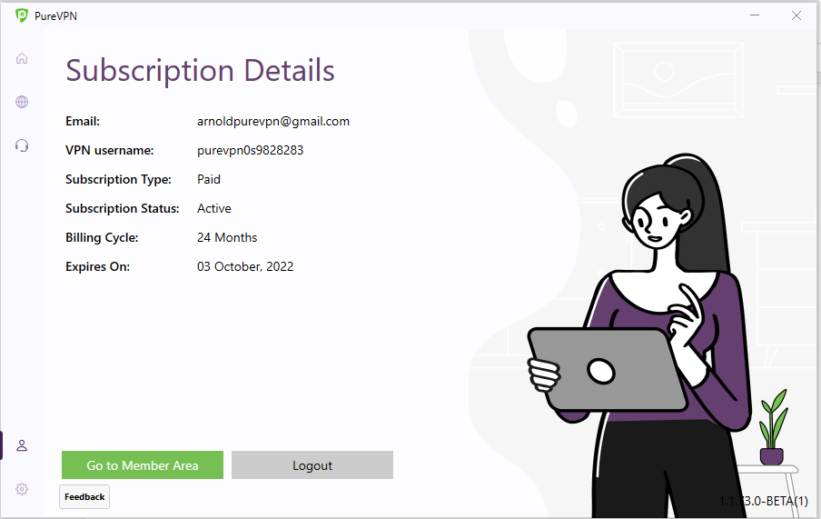 Click Logout | How to logout from PureVPN Windows app