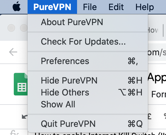 Click on PureVPN Icon - How to enable/disable start on launch on PureVPN Mac app