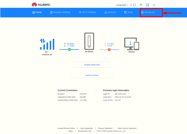 Advanced Option | PPTP Setup for Huawei 5G CPE Pro2 | PureVPN