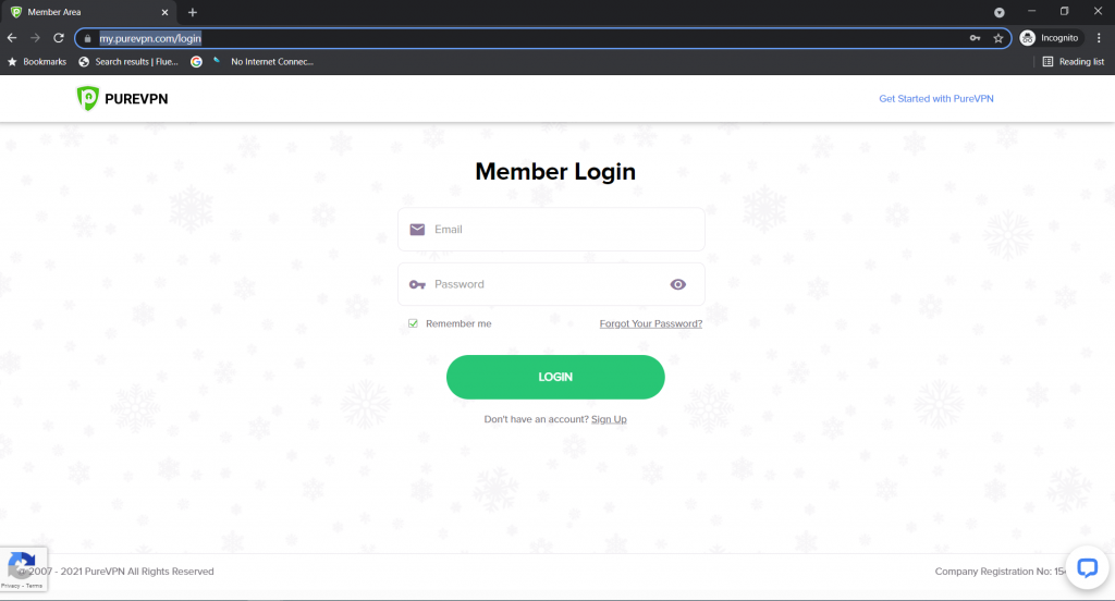 Go to the PureVPN member area login page.