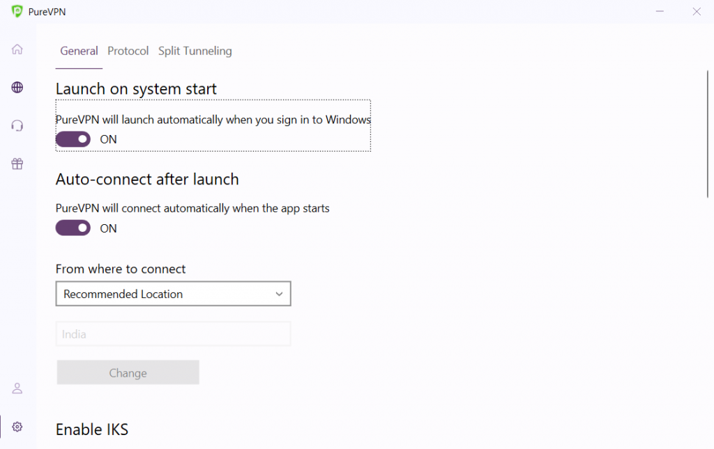 Toggle 'Launch on system start' & 'Auto-connect after launch' to turn it on.