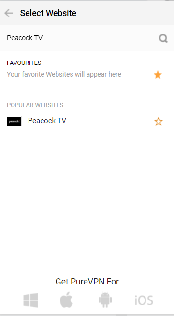 Search for Peacock TV and connect with it.
