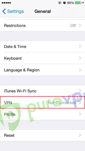 """Tap on """"VPN"""" on iphone L2tp"""