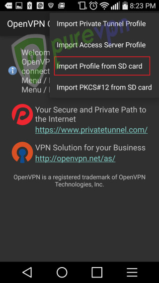 4 setup openvpn on android
